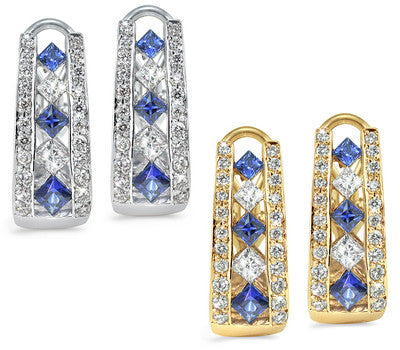 French Clip Channel Set Sapphire & Diamond Earrings