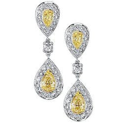 Natural Yellow Pear Dangling Diamond & Pave Earrings - 2.26 ctw.