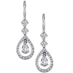 Ornament Round and Pear Shaped Diamond Dangle Earrings - 4.26 ctw.