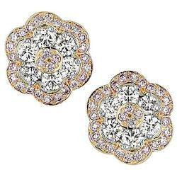 Pink Carnation Floral Diamond Earrings - 4.73 ctw.