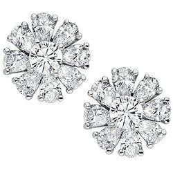 Daisy Pear and Round Shaped Diamond Earring - 4.44 ctw.