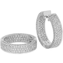 Pave Diamond Inside & Outside Hoop Earrings - 5.20 ctw.