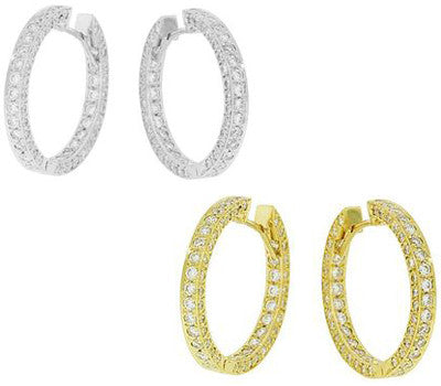 Pave Diamond Hoop Earrings - 2.55 ctw.