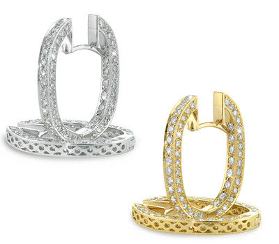 Open Diamond Hoop Earrings