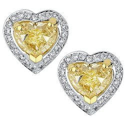 7.06 ct. Amore Natural Fancy Heart Diamond & Pave Earrings - 0.90 ctw.