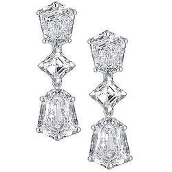 Seise Magnifique Asscher and Shield Cut Diamond Earrings - 4.43 ctw.
