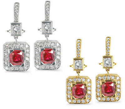 Rectangular-Shaped Diamond Earrings with Ruby Center Stones