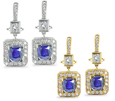 Rectangular-Shaped Diamond Earrings with Sapphire Center Stones