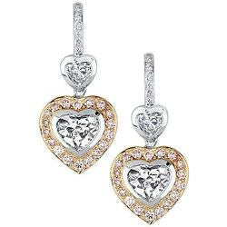 2.97 Carat Dangling Pink Diamond Heart Earrings - 1.90 ctw.