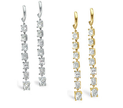 Dangling Frost Radiant Cut Diamond Earrings - 5.50 ctw.