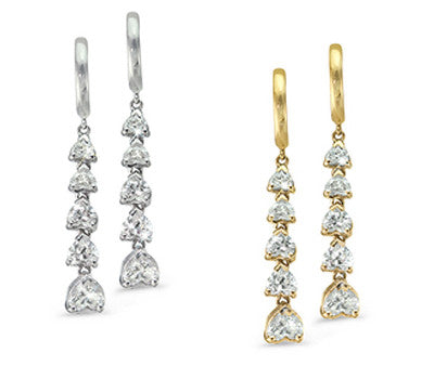 Dangling Hearts Diamond Earrings - 3.40 ctw.