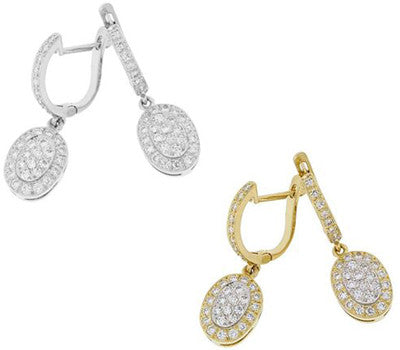 Oval Dangle Diamond Earrings - 0.60 ctw.