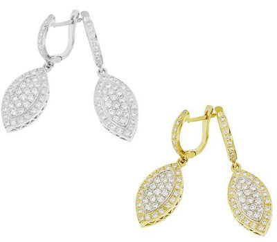 Dewdrop Pave Dangle Diamond Earrings - 1.10 ctw.