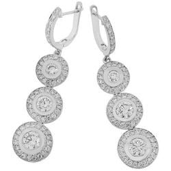Tres Circulo Dangle Diamond Earrings - 2.30 ctw.