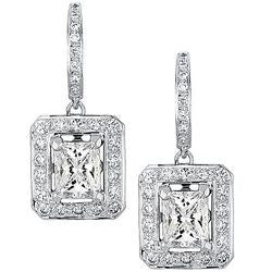 3.01 ct. Banquet Radiant & Round Diamond Dangle Earrings - 1.00 ctw.
