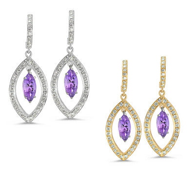 Twin Marquise Pave Amethyst & Diamond Earrings