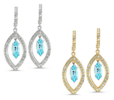 Twin Marquise Pave Aquamarine & Diamond Earrings