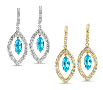 Twin Marquise Pave Blue Topaz & Diamond Earrings