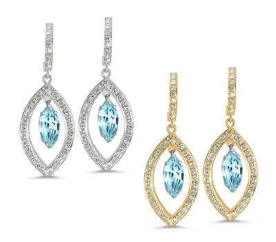 Twin Marquise Pave Blue Zircon & Diamond Earrings