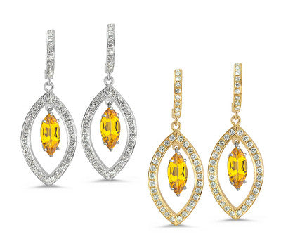 Twin Marquise Pave Citrine & Diamond Earrings