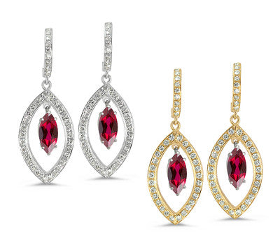 Twin Marquise Pave Garnet & Diamond Earrings