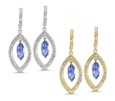 Twin Marquise Pave Iolite & Diamond Earrings