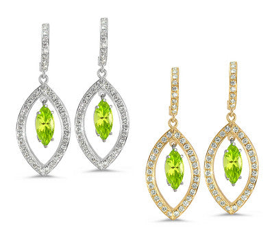 Twin Marquise Pave Peridot & Diamond Earrings