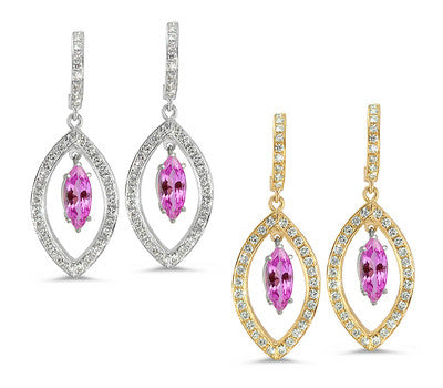 Twin Marquise Pave Pink Sapphire & Diamond Earrings