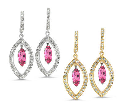 Twin Marquise Pave Pink Tourmaline & Diamond Earrings