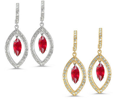 Twin Marquise Pave Ruby & Diamond Earrings