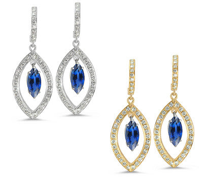 Twin Marquise Pave Sapphire & Diamond Earrings