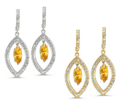 Twin Marquise Pave Yellow Sapphire & Diamond Earrings