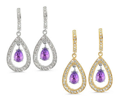 Pear Shaped Pave Amethyst & Diamond Earrings