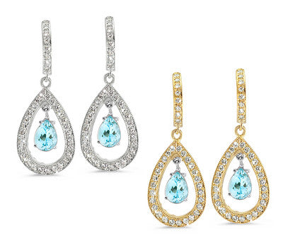 Pear Shaped Pave Aquamarine & Diamond Earrings
