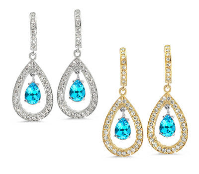 Pear Shaped Pave Blue Topaz & Diamond Earrings