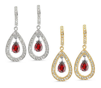Pear Shaped Pave Garnet & Diamond Earrings