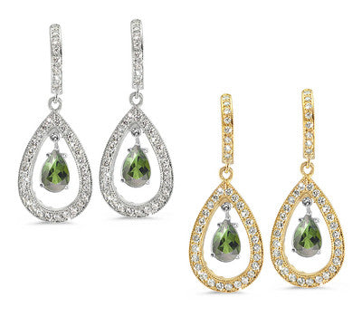 Pear Shaped Pave Green Tourmaline & Diamond Earrings