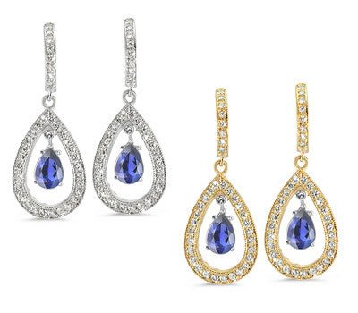 Pear Shaped Pave Iolite & Diamond Earrings