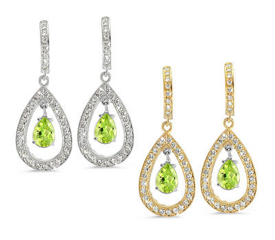 Pear Shaped Pave Peridot & Diamond Earrings