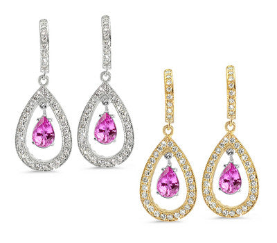 Pear Shaped Pave Pink Sapphire & Diamond Earrings