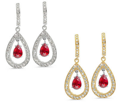 Pear Shaped Diamond Earrings with a 0.75 ct. Genuine Ruby Center Stone