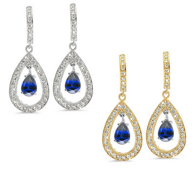Pear Shaped Diamond Earrings with a 0.75 ct. Genuine Sapphire Center Stone