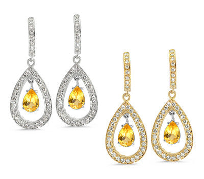 Pear Shaped Pave Yellow Sapphire & Diamond Earrings