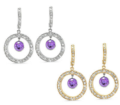 Twin Circle Pave Amethyst & Diamond Earrings