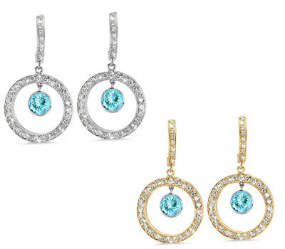 Twin Circle Pave Aquamarine & Diamond Earrings