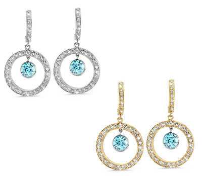 Round Shaped Blue Zircon & Diamond Earrings with Bow Embellishments