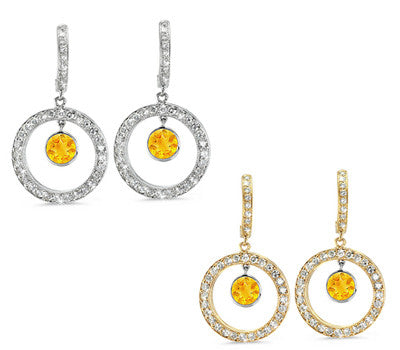 Twin Circle Pave Citrine & Diamond Earrings