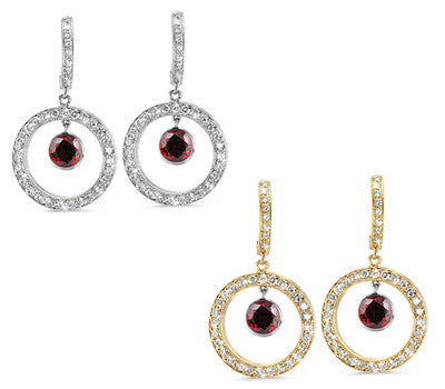 Twin Circle Pave Garnet & Diamond Earrings