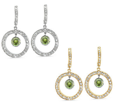 Round Shaped Green Tourmaline & Diamond Earrings with Bow Embellishments