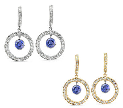 Twin Circle Pave Iolite & Diamond Earrings